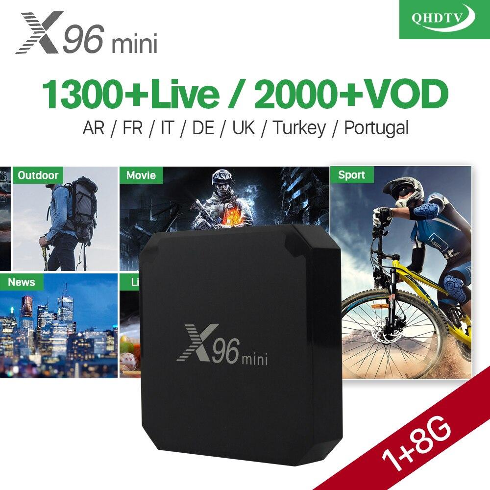 X96 mini Android 7.1 Smart IP TV Box 4K Quad Core 1 Year QHDTV Code Subscription Europe Channels X96mini French Arabic IPTV Box