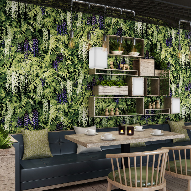 Tropical Rain Forest Green Plant Wallpaper Restaurant Wall Mural Retro 3D Wallpaper Green Leaf Tv Background Wallpaper Roll tropical green leaves print wall hanging tapestry
