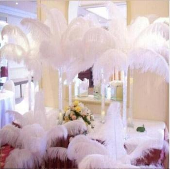 14-16 Inch White Ostrich Feather Plume Craft Supplies Wedding Party Table Centerpieces Decorations supply 100pcs/lot