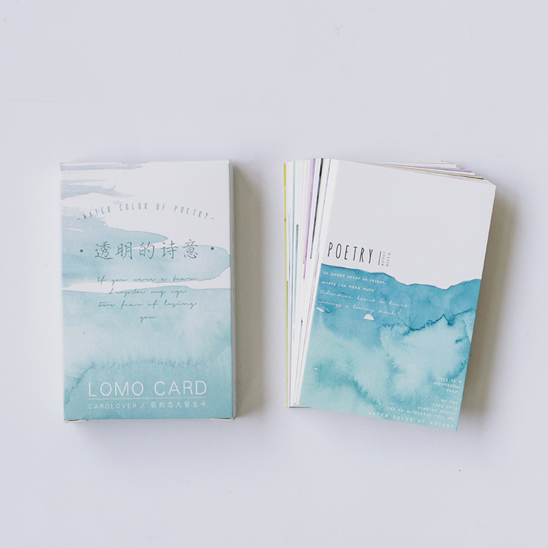 28 Sheets/Set Novelty Watercolor Poetry Mini Lomo Greeting Card Postcard/Wish Card/Christmas And New Year Gifts