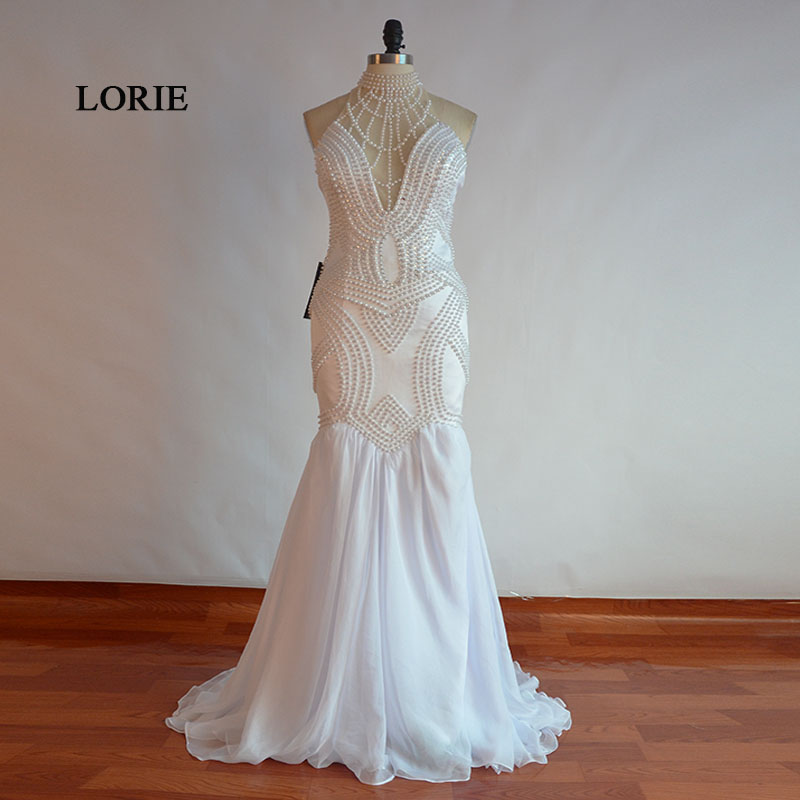 LORIE Long Graduation Imported Party Dresses O Neck Beaded With Pearls Mermaid Prom Dress White