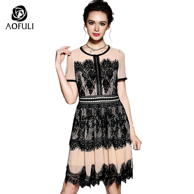 AOFULI S- XXL Women Floral Lace Dress Summer 2018 Vintage Short Sleeve High  Waist Knee-Length Party Dress Brand Clothes 5153