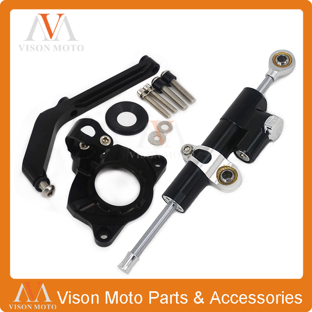 Фотография CNC Steering Damper Set Stabilizer With Bracket Mounting Assemblly For KAWASAKI Z1000 14 15 16 2014 2015 2016