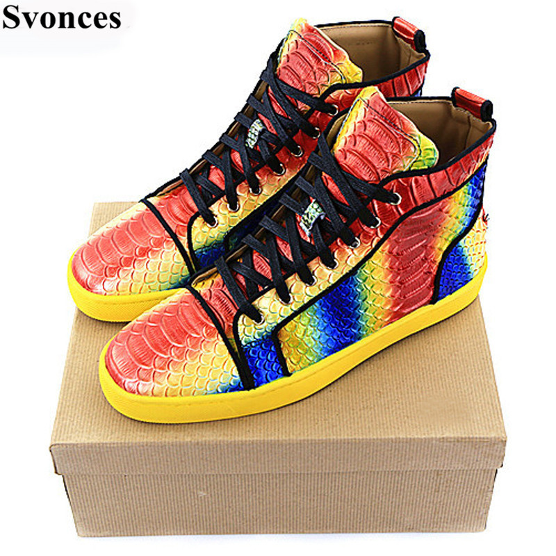 ... Homme Rainbow Snakeskin Unisex Men Casual Shoes Luxury Brand Fashion  Leather Leisure Shoes Lace Up Mens Flats on Aliexpress.com  53068b39a8b1