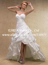 купить Sweetheart Cheap Ruched Satin Backless High Low Wedding Dress Short Front Long Back RG1531 дешево