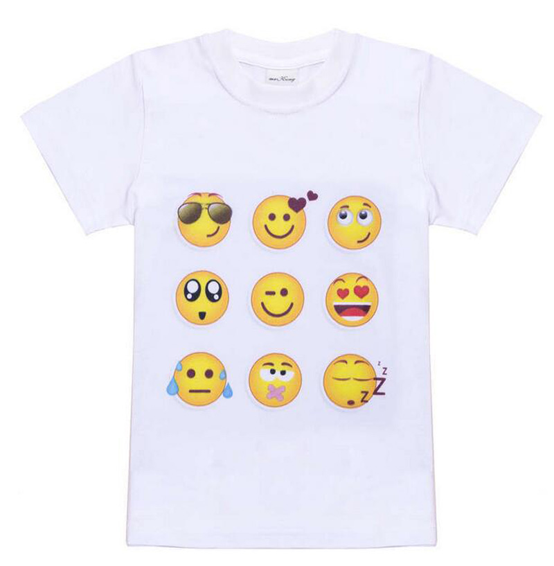 Kids Emoji Emotions Cosplay T-shirts Children Smiley Face Emotions Boys Summer Costumes T-shirts Tees