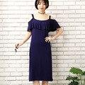 Xiaying Lächeln Frauen Biank Mutterschaft Kleid Weibliche Art Und Weise Allgleiches V-ausschnitt Sexy lose Große Krawatte gefärbt Gestreift Hosenträger kleid