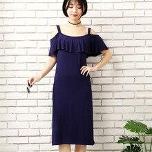 Xiaying Smile Women Biank Maternity Dress Female Fashion All-Match V-Neck Sexy loose Big Tie-dyed Striped Braces dress