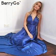 BerryGo Elegant backless satin long dress Women evening summer dress Party sexy black red maxi dresses vestidos pajamas