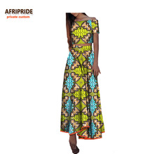2018 Fall african 2-pieces suit for women AFRIPRIDE short sleeve top+ankle-length skirt casual cotton A722652