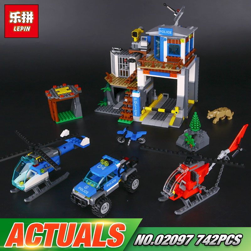 Lepin 02097 New 742Pcs City Series The Mountain Police Headquater Set 60174 Building Blocks Bricks Toys Model As Gifts For Kids kaygoo building blocks aircraft airplane ship bus tank police city military carrier 8 in 1 model kids toys best kids xmas gifts