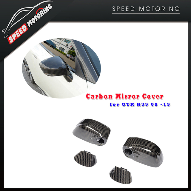 Replaced Style Carbon Fiber Rear View Side Mirror Cap Cover Trim for GT-R GTR R35 2009 - 2015