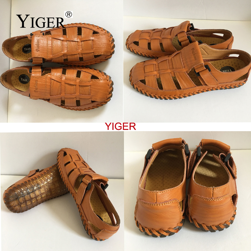 YIGER NEW Men's Genuine Leather Sandals Casual beach shoes Oxford - Men's Shoes - Photo 4