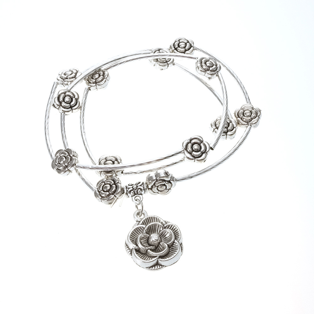 New Trendy For Wowen Silver Color Flower Fashion Jewelry Two Use Necklace And Bracelet New Flexible Necklace Party GiftBN0007