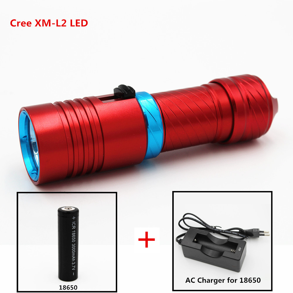 1200LM XM-L2 LED Diving Flashlight Underwater Waterproof 100M Torch Lamp Light Camping Lanterna With Stepless Dimming