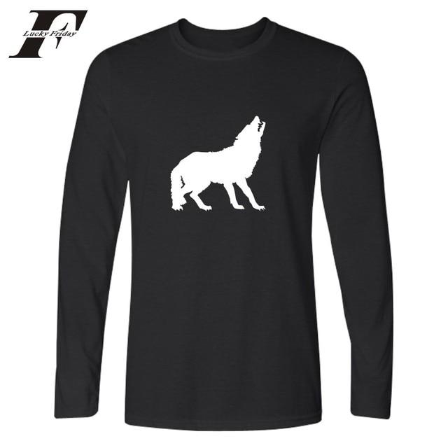 270e880842f Simple Design Wolf T-shirt Men Black Autumn Basic Tops Funny Tshirt Designs  High Quality Cotton Tee Shirt Men Long Sleeves