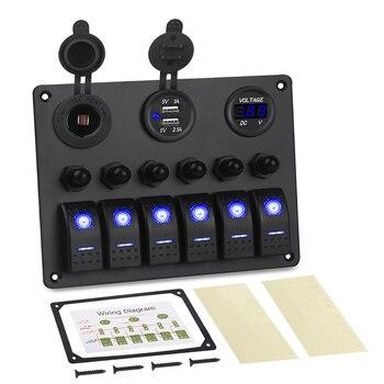 A prueba de agua 6 bandas de circuito LED para coche barco marino basculante interruptor Panel Breakers 5 V 3.1A Dual USB cargador enchufe 12 V voltímetro