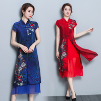 Temperament Printing Elegant Women Dress 2018 New Summer High End Double Silk Improved Cheongsam Short Sleeve Dresses Big Code