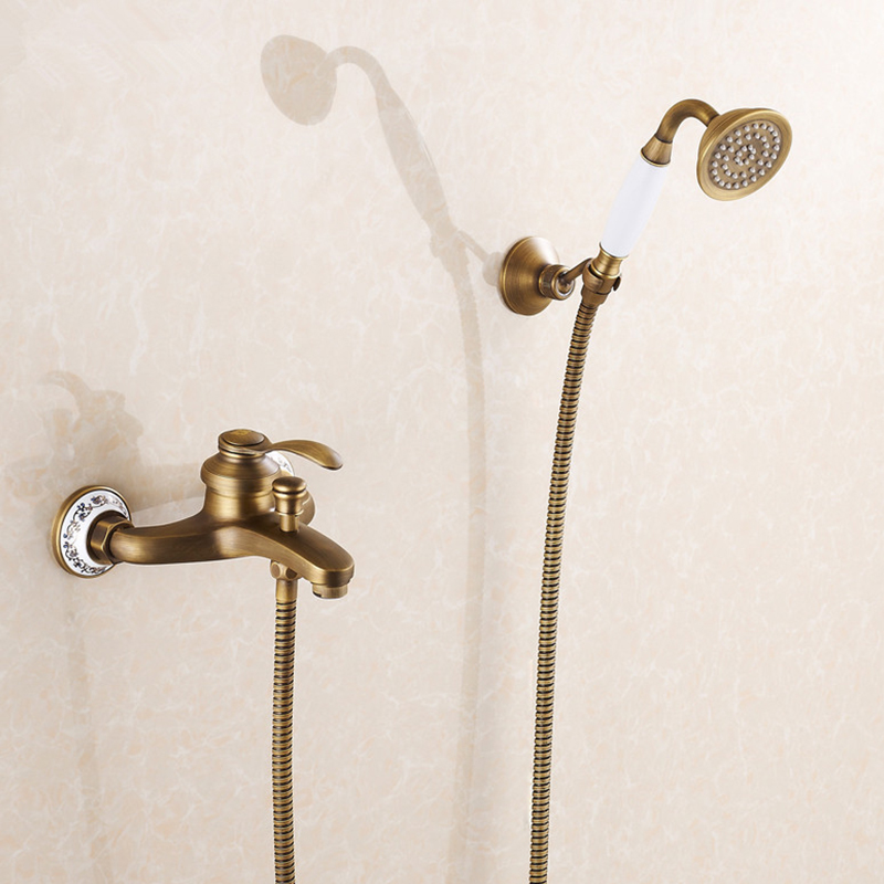 Classic Shower Faucet Set Mixer Tap Antique Bronze Brass Wall Mounted Bath Shower Tap Bathtub Faucet Torneira Crane HJ-6756F shower faucet wall mounted antique brass bath tap swivel tub filler ceramic style lift sliding bar with soap dish mixer hj 67040