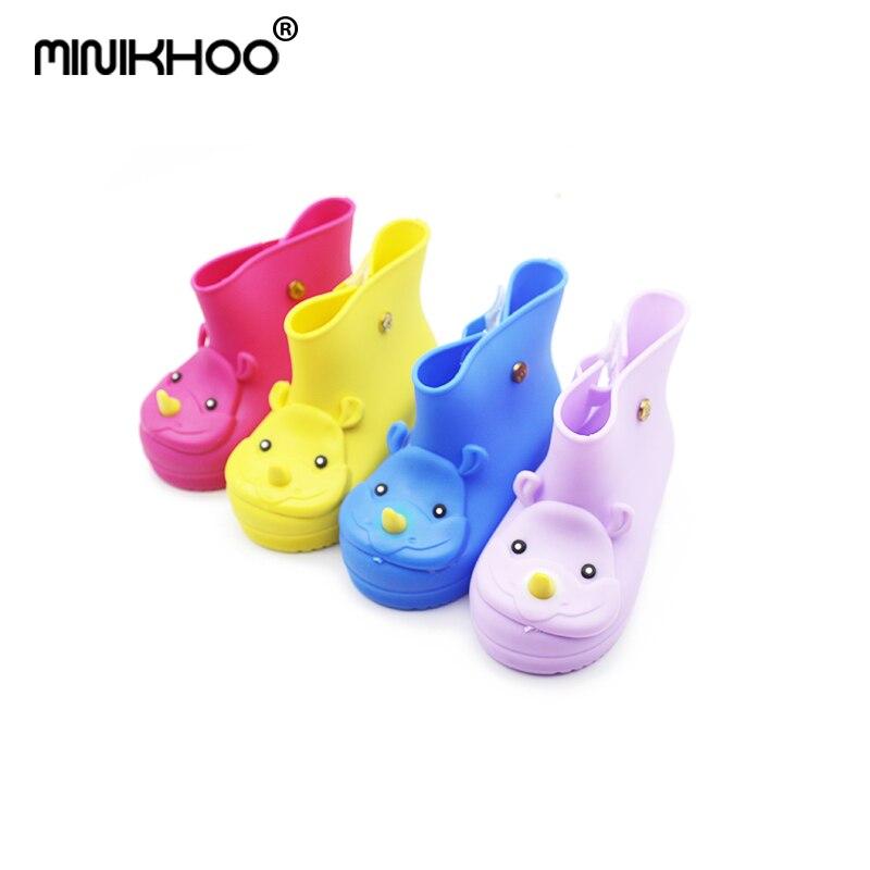 Mini Melissa Rhinoceros Pattern Rain Boots Girls Water Shoes 2018 New Girls Boys Rain Boots Melissa Non-slip Boots 14cm-18cm