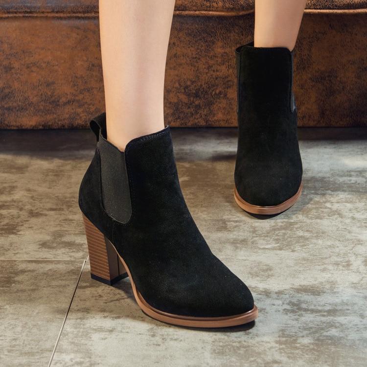 35 Cuero marrón Europea Martin Scrub Zapatos Las Sólidas Invierno Con Gamuza De Grueso Tamaño Mujer negro Otoño Beige 39 18hot Señoras Botas wx7qf1TXX