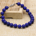 Precio al por mayor elegante de piedra natural azul lapislázuli 8mm ronda jasper beads bracelet & bangle joyería de las mujeres 7.5 pulgadas B3170