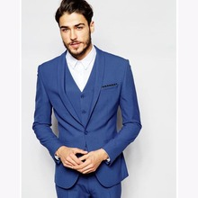 New costume homme mariage royal Blue Mens Suit Groom Tuxedo 2017 slim fit Groomsmen wedding suits for men (Jacket+Pants+Vest)