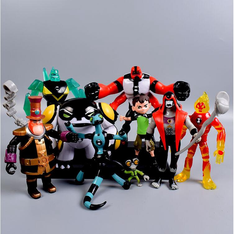 9pcs/set Ben PVC Action Figure 10 Ben Tennyson Four Arms Grey Matter Kineceleran Diamondhead Heatblast Kids Toys Gifts