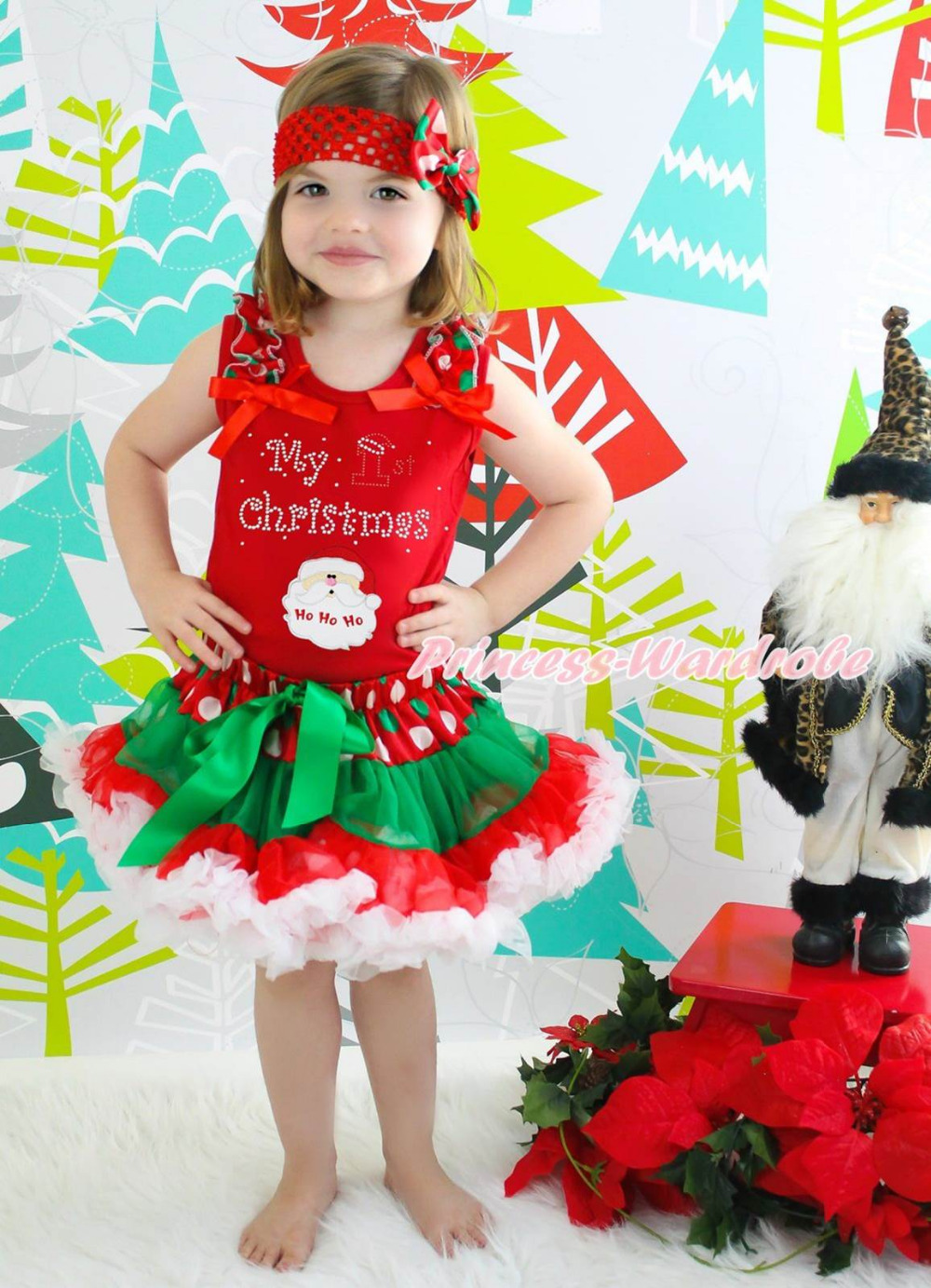 My 1ST Christmas Santa Claus Red Top Xmas Dot Waist Girls Pettiskirt Outfit 1-8Y my 1st christmas santa claus white top xmas dot waist girls pettiskirt set 1 8y
