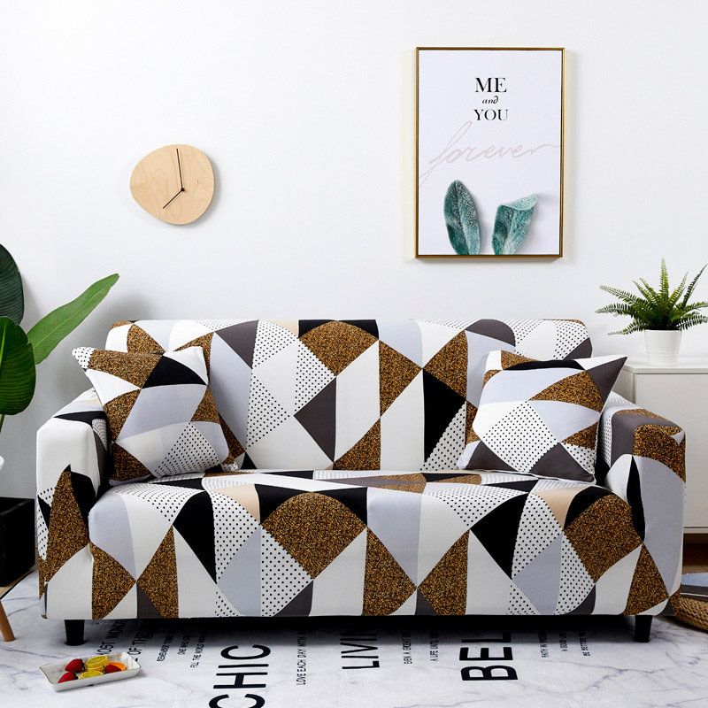 Floral Printing and Wrinkle Free Sofa Cover with Elastic Bands and Straps for Living Room Corner Sofa 4
