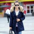Новая Зимняя Военная Пальто Женщин Парки Сгущает Длинные Пиджаки Женщины Пальто длинный Зимняя куртка Большой Меховой Куртки С Капюшоном Пальто