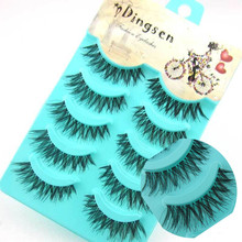 Fashion Trendy Hot Sale 5 Pairs Black Handmade Messy Natural Cross False Eyelashes Free Shipping