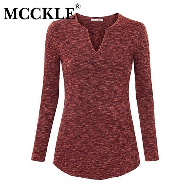 MCCKLE Футболки Женские топы плюс размер 2xl осень весна v шея тонкий мягкий с длинным рукавом soild повседневная женщин топ пуловеры clothing