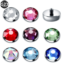 1PC G23 Titanium Silver Gems Dermal Top Micro Skin Diver Piercing Skinner Implants Body Jewelry 16G