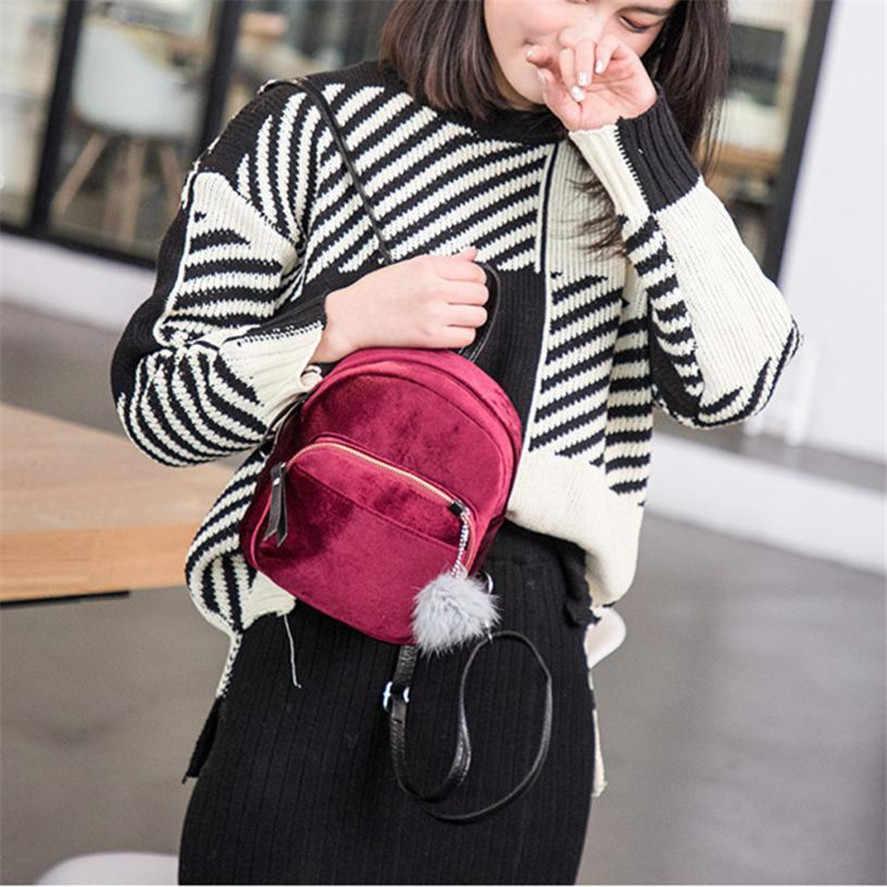 Neue Mini rucksack weibliche 1PC Mode Pelz Ball Rucksack Retro Schulter Tasche Solide Frauen Mädchen Kleine Rucksäcke Reise Schule taschen