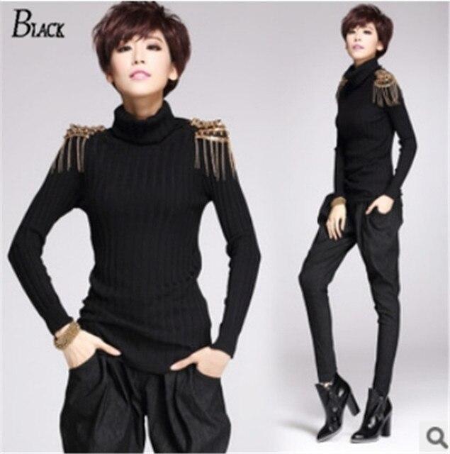 100% хлопок личность мода женщины свитера 2015 урожай погон заклепки кисточкой женщины свитер черный вязать свитера