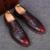 Los hombres zapatos de cuero genuino del patrón del cocodrilo ocasional imprimir brogue talladas oficina suave vestido de novia de lujo pisos oxfords zapatos de hombre