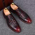 men crocodile pattern genuine leather shoes casual print carved brogue gentle office wedding dress luxury flats shoe oxfords man