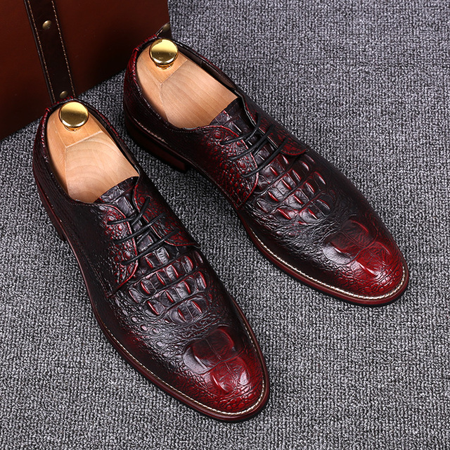 e2b7899585 men crocodile pattern genuine leather shoes casual print carved brogue  gentle office wedding dress luxury flats shoe oxfords man-in Men's Casual  Shoes ...