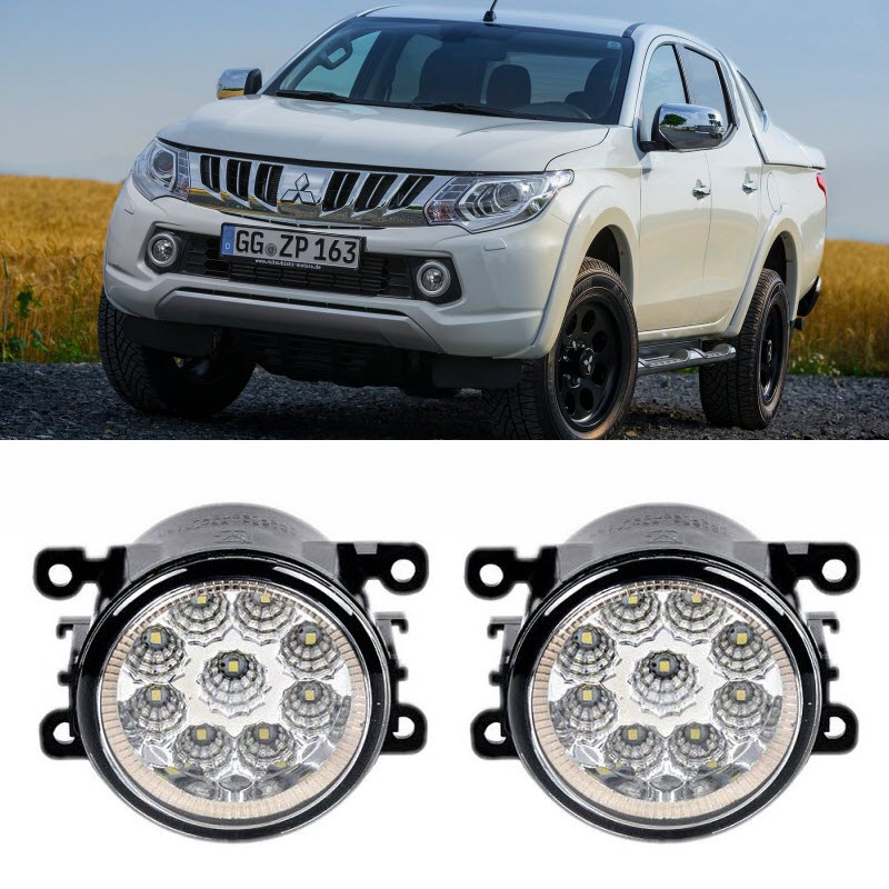 Car-Styling For Mitsubishi Triton L200 Strada Fiat Fullback 2015 2016 9-Pieces Led Fog Lights H11 H8 12V 55W Fog Head Lamp car modification lamp fog lamps safety light h11 12v 55w suitable for mitsubishi triton l200 2009 2010 2011 2012 on