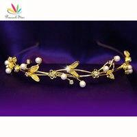 Wholesale Bridal Wedding Leaves Crystal Pearl Gold Headband Tiara CT1111