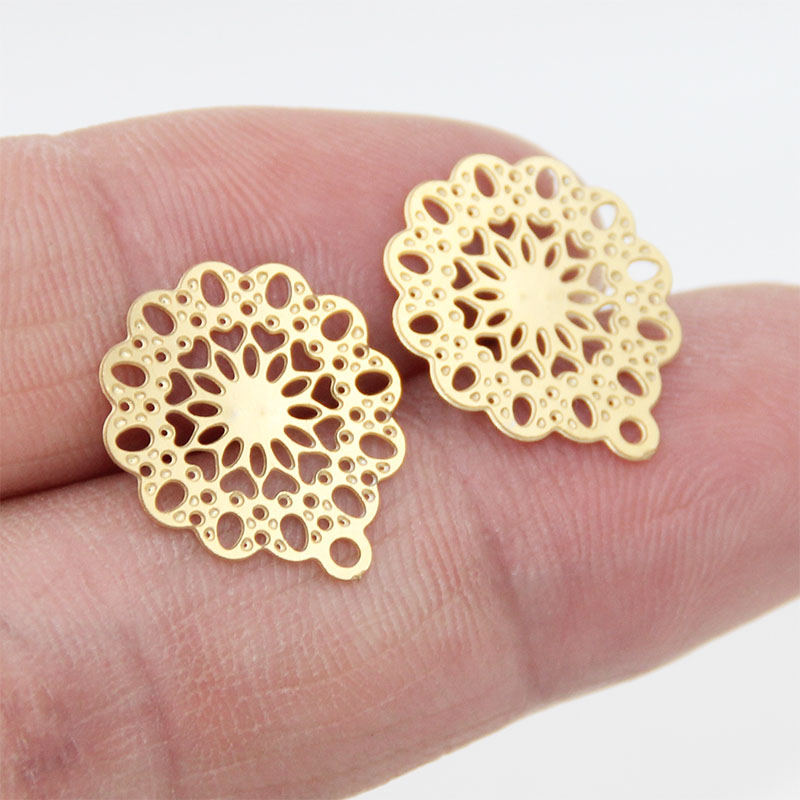 10pcs Stainless Steel Hollow Flower Gold Earring Stud Posts Pins With Hole For DIY Earring Making Components