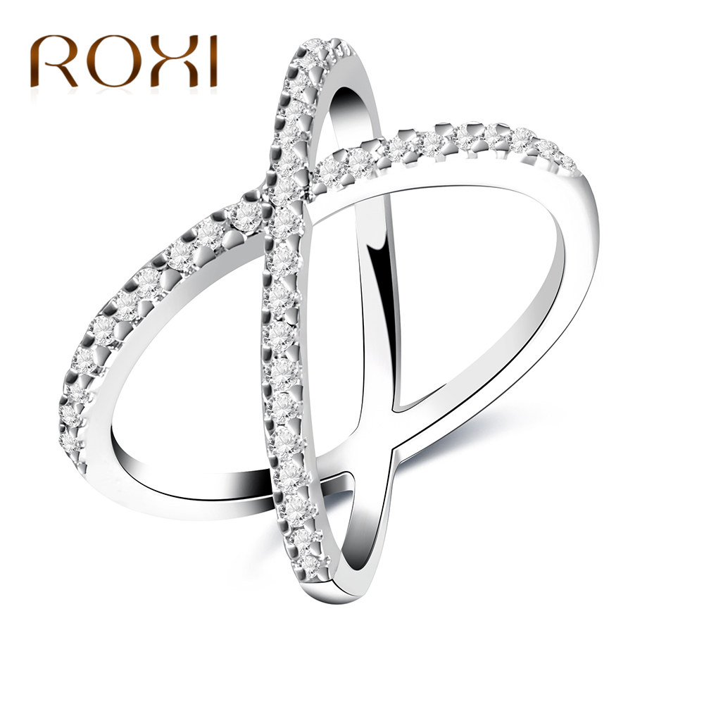 ROXI Fashion Silver Color Rings for Women X Shape Cross Ring Zirconia Micro Paved Women Anel Wedding Party Jewelry Drop Shipping
