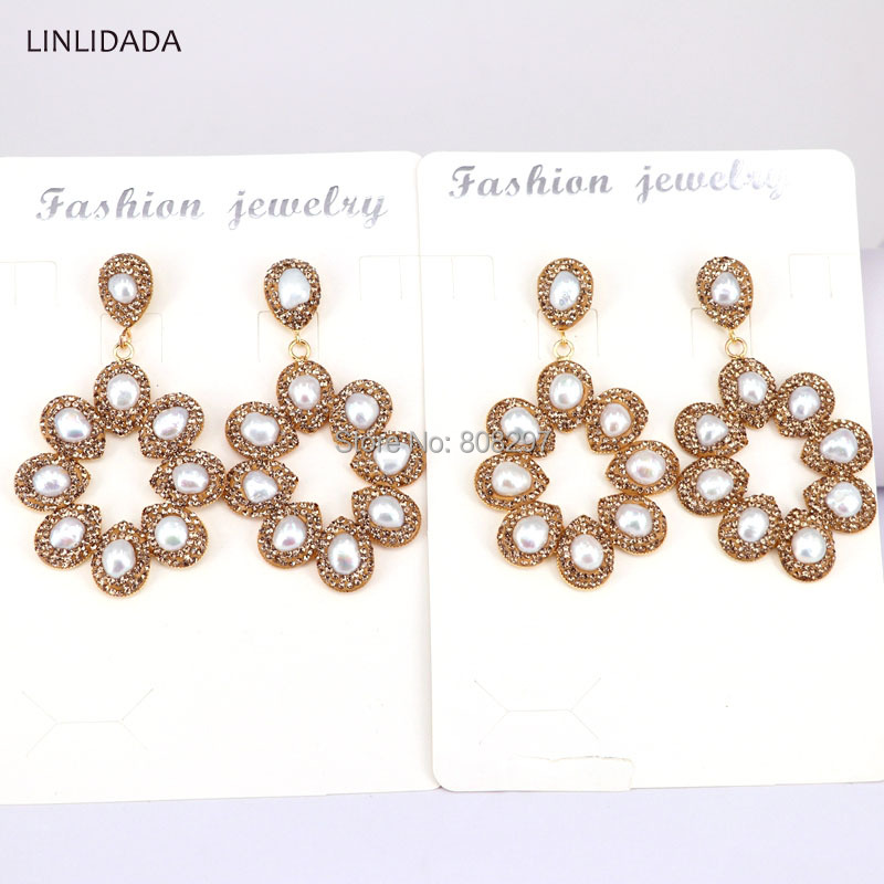 4Pair Fashion Freshwater Pearls Drop Earrings with Crystal Rhinestone Paved FLOWER Dangle Earring