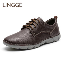 LINGGE Brand Split Leather Mens Shoes Lace Up Casual Men Daily Basic Shoe Handmade Leisure Light Weight