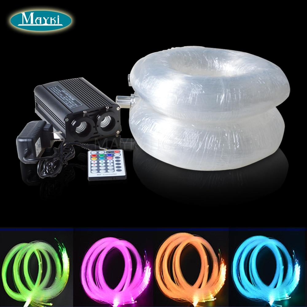 Maykit Double Ports, 16*2 w RGBW LED Illuminateur Fiber Optique Kit Installer Plus De Fibers Pour Maison Étoilé Ciel Plafond À L'aide