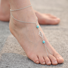 Fashion Women Bohemia Alloy Turquoise Multilayer Chain Anklet Summer Beach Ankles Toe Bracelet New Foot Jewelry For Women PD26