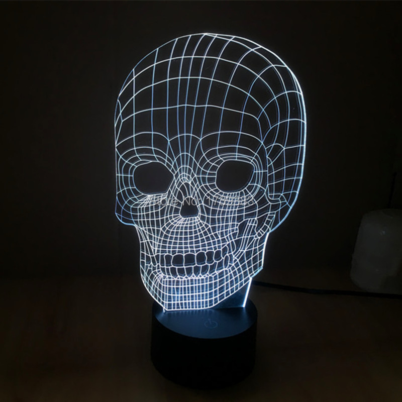 6 pcs/lot Touch Sensor colorful 3D Skull Head LED Night Lights of Crossbones USB table lamp for night Lightsaber