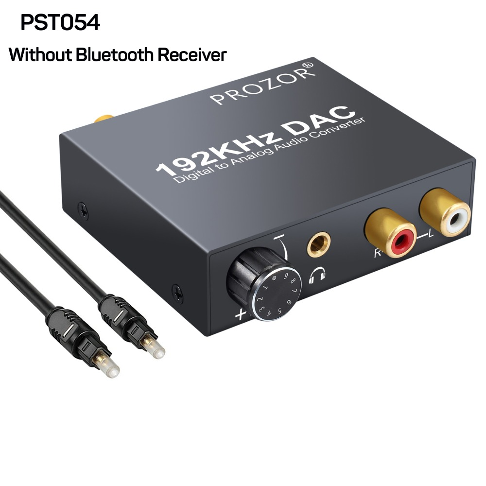 Proster Volume Control DAC Converter Digital Optical Coaxial Toslink to Analog RCA Audio Converter with Bluetooth Receiver