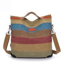 Designer Koreanische Frauen Handtasche Color Streifen Vintage Leinwand Umhängetaschen Retro Damen Handtaschen frauen Messenger Bags